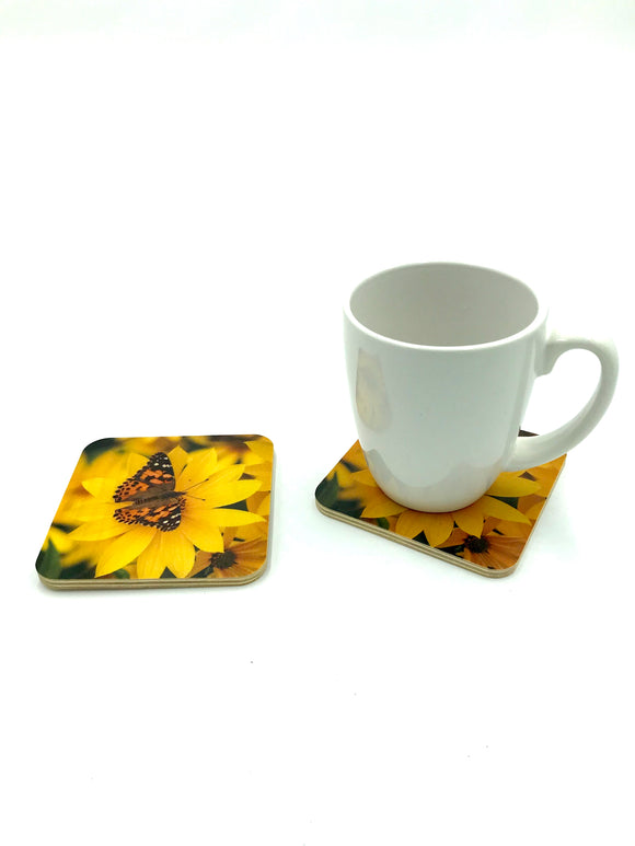 Coaster- Painted Lady Butterfly wood photo coaster