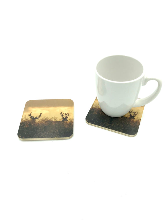 Coaster-Two Bucks wood photo coaster