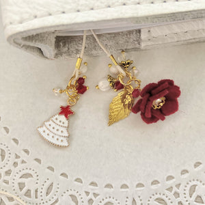 Red felt flower and White Tree Bookmark in GOLD