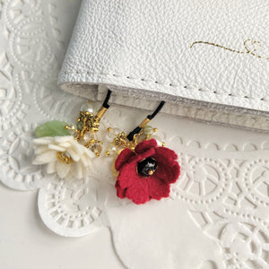 """Red Poppy""  Wildflower Double flower Bookmark"