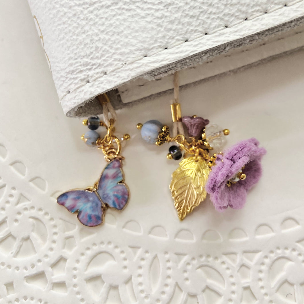 Wisteria Felt flower and ButterflyCharm with Beads Bookmark