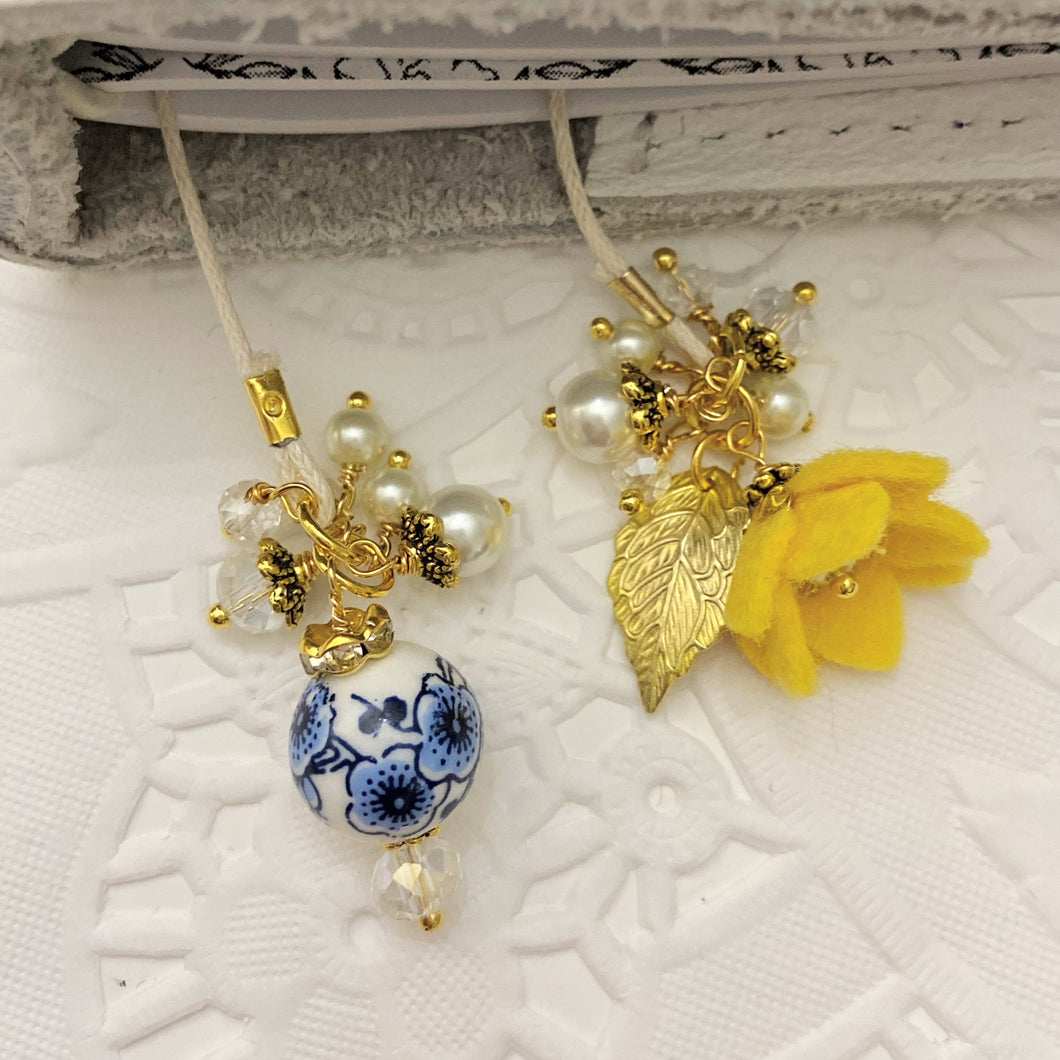 Yellow Felt Flower Tulip and Delft Bead Bookmark