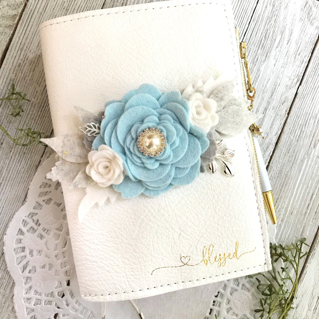 Blue Snow Rose flower cluster Felt Floral Swag with silver leaves