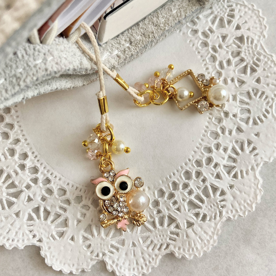 Pink Owl Charm Bookmark