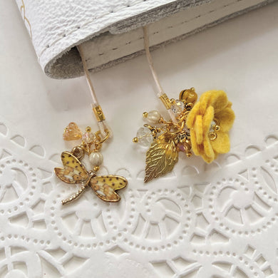 Ochre Felt flower and Dragonfly Charm with Beads Bookmark