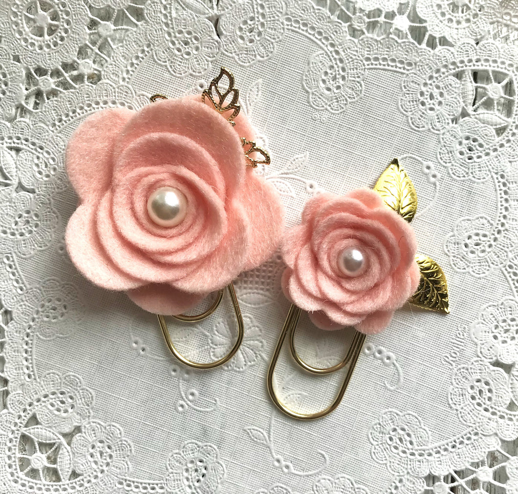 Blush Felt Flower Paper Clip Set, Travelers Notebook Bookmark, Travelers Notebook Accessories, TN Charms, TN Accessories