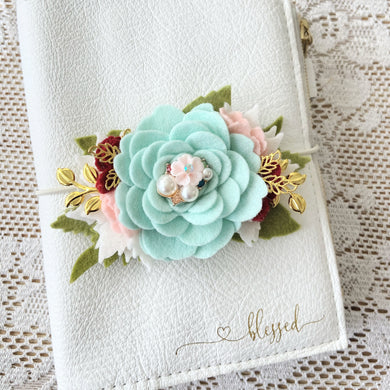 Aqua Christmas Rose Felt Floral Swag with gold leaves