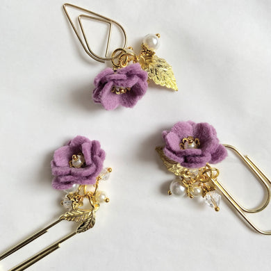 Wisteria Felt Flower Dangle clip