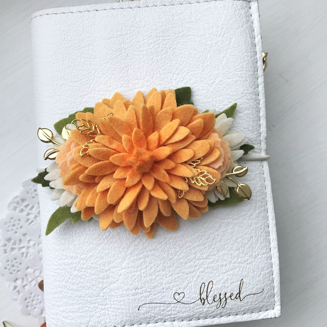 Sunset Dahlia Felt Flower Swag