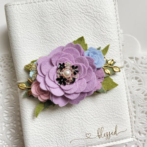 Lilac Rose Felt Floral Swag with gold leaves