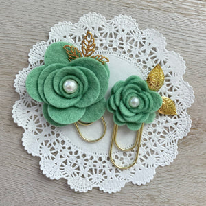 Green Tea Felt Flower Paper Clip Set