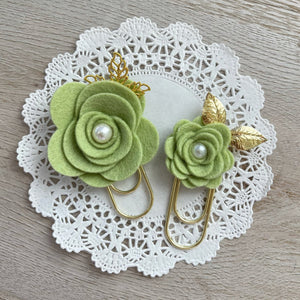 Avocado Felt Flower Paper Clip Set