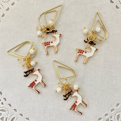 White Deer and Beads Dangle Drop clip