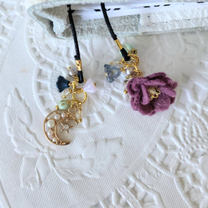 """Celestial"" Mulberry Felt flower and Moon Charm Bookmark"