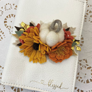 White Pumpkin Felt Flower Swag