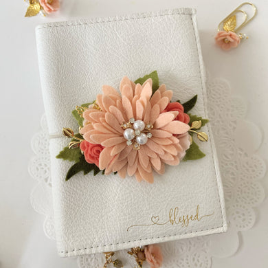 Peach Daisy flower cluster Floral Swag with gold leaves