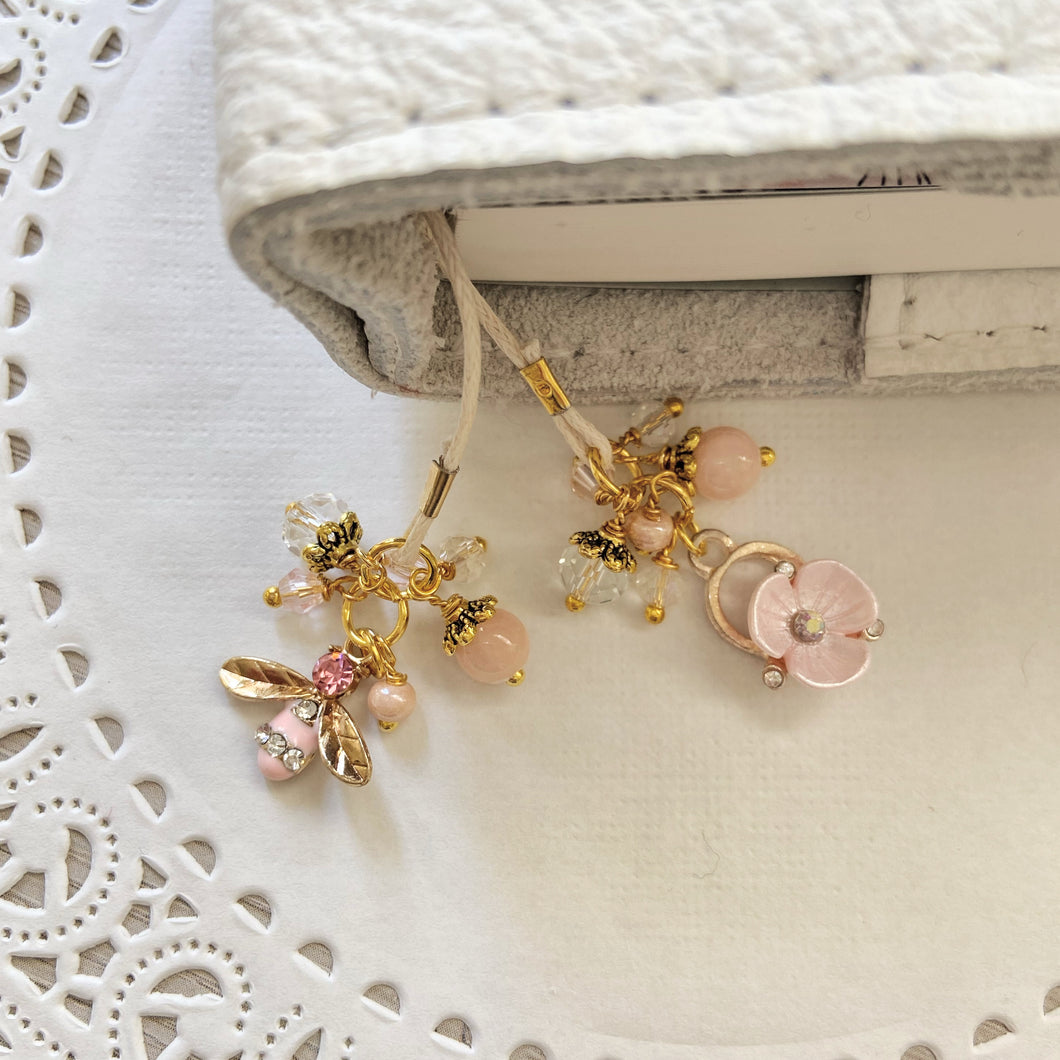 Pink Bee and Flower  Charm Bookmark