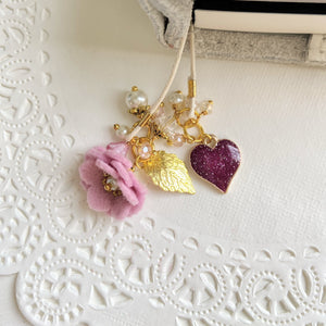 Berry Heart Charm and Orchid felt bookmark