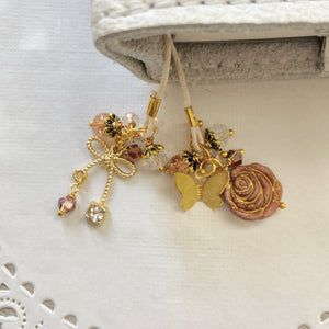 Vintage Rose  glass flower and Bow Charm Bookmark