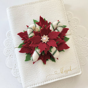 Red Poinsettia with Green Candy Canes Felt Flower Swag