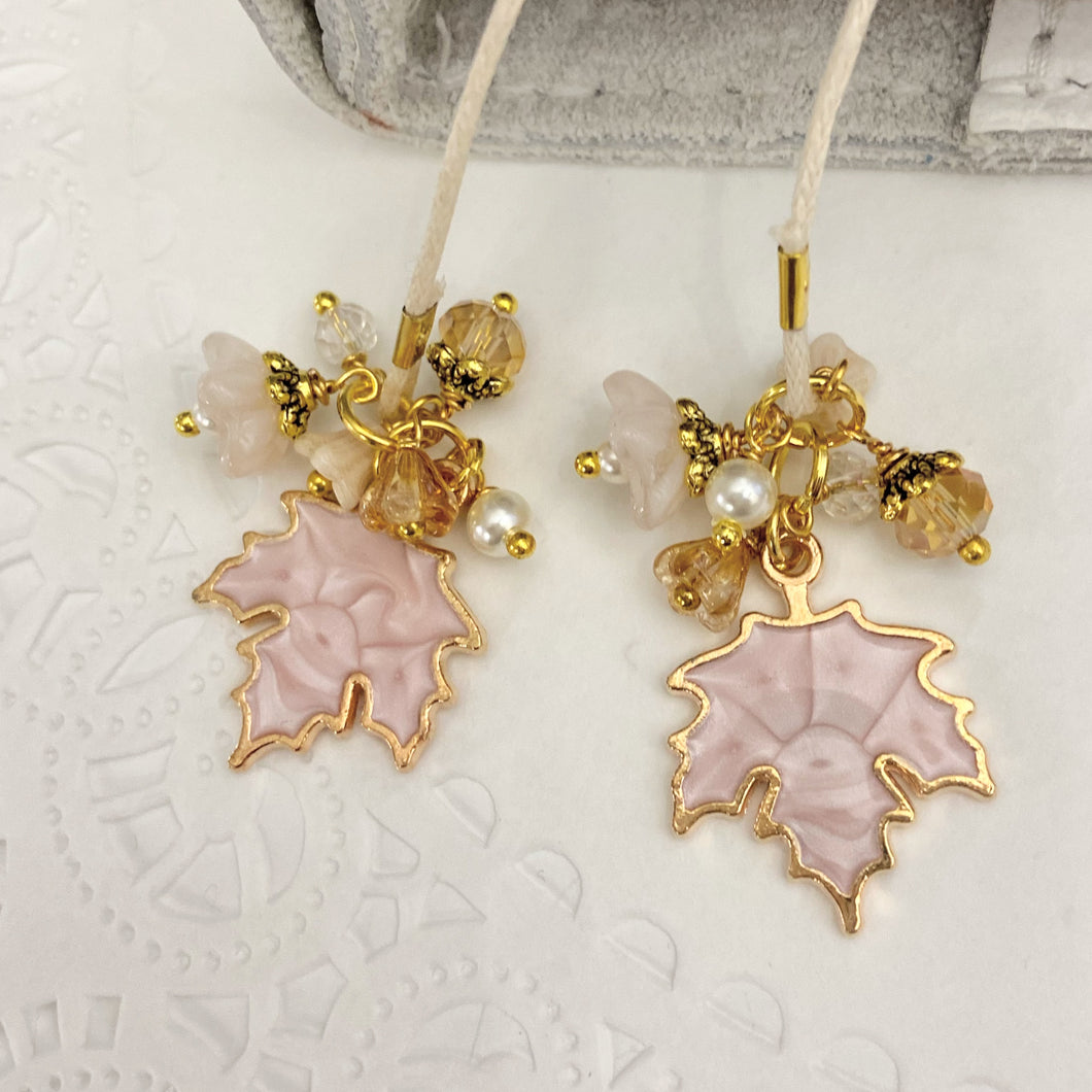 Blush Maple leaf Charms and beads Bookmark
