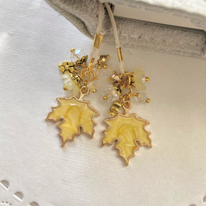 Yellow Maple leaf Charms and Beads Bookmark