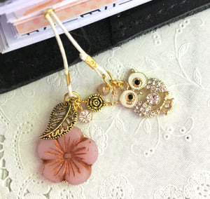 Pink Glass Flower and Owl Charm Bookmark with Beads, TN Bookmark