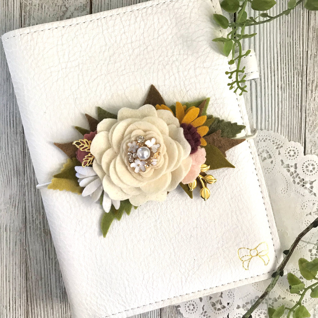 Summer Cream flower cluster Floral Swag with gold leaves