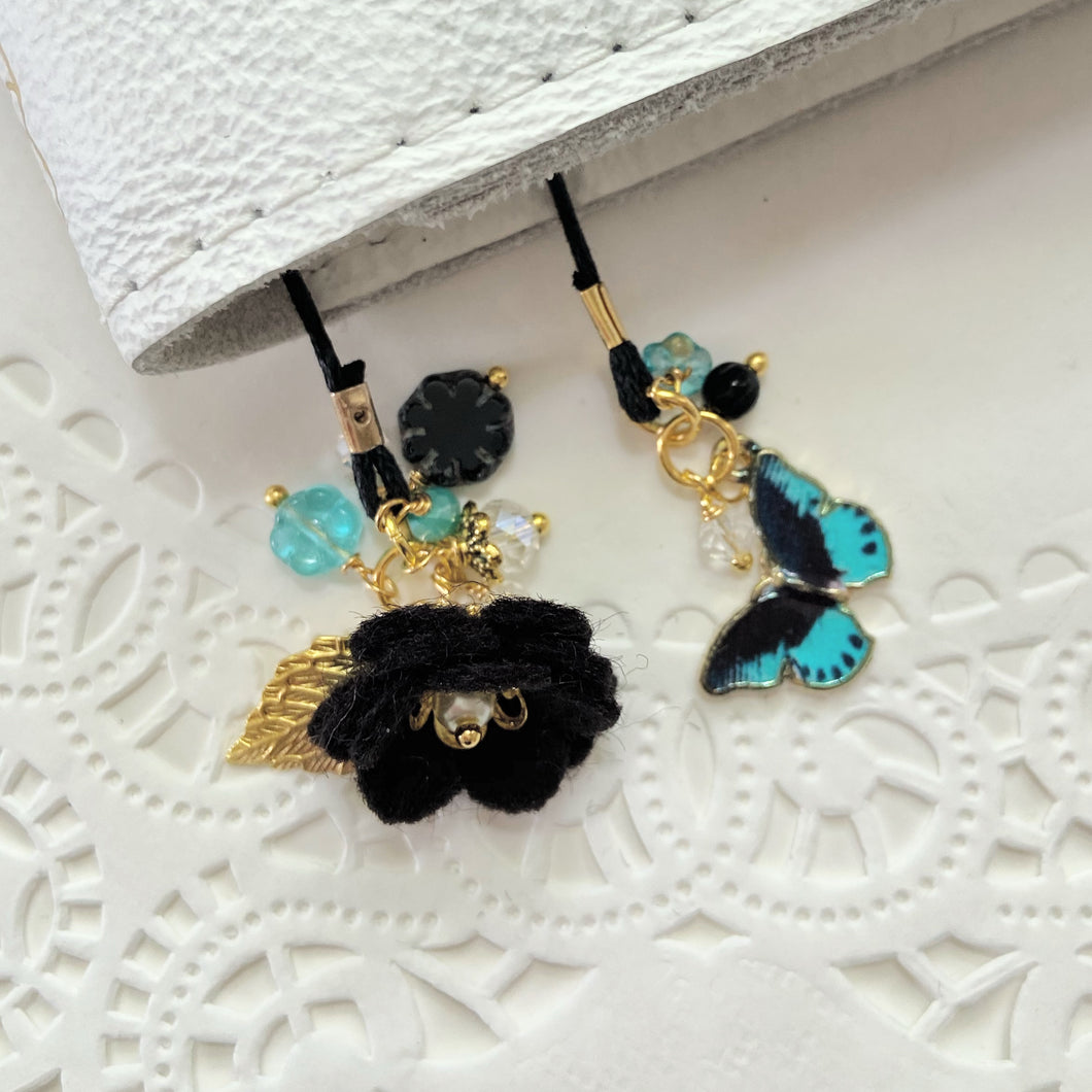 Black Felt flower and Black and Teal Butterfly Charm with Beads Bookmark