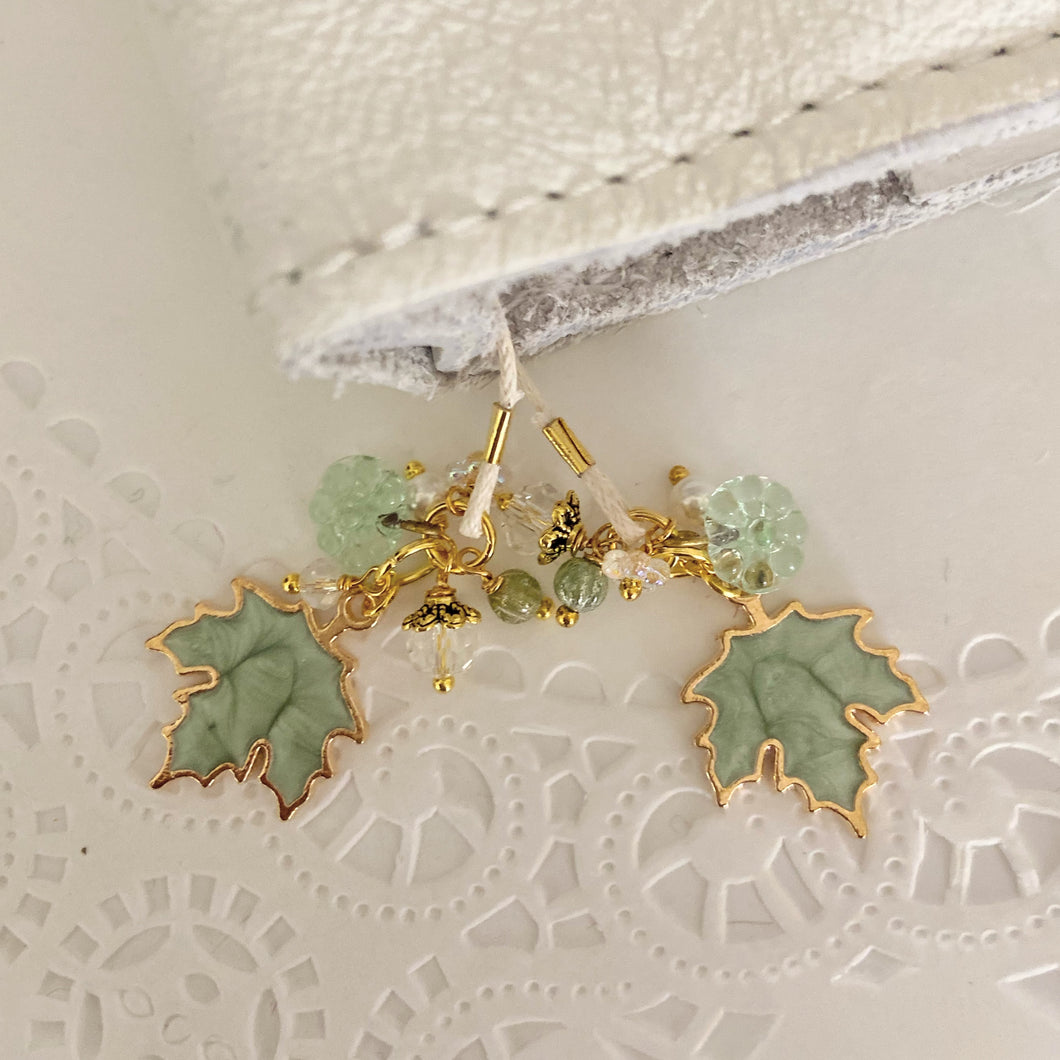 Green Maple leaf Charms and Beads Bookmark