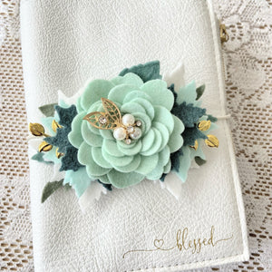 Northwoods Christmas Rose Felt Floral Swag