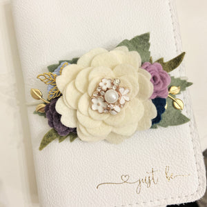The Moonlit Large Cream flower cluster Floral Swag with gold leaves, Travelers Notebook Bookmark, Travelers Notebook Accessories
