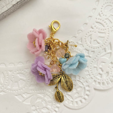 Field of Flowers Charm in pink crystal, blue snow and lilac