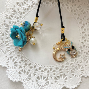 Peacock Felt flower and Owl Charm Bookmark with Beads