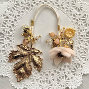 """Autumn Splendor"" Porcelain Felt Flower and Leaf Charm Bookmark"
