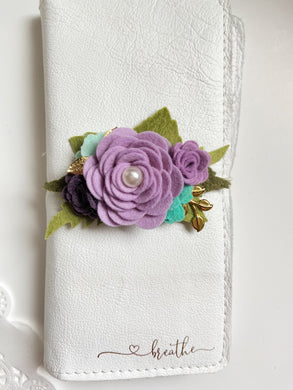 Smaller Lilac, vineyard and aquas flower cluster Felt Floral Swag