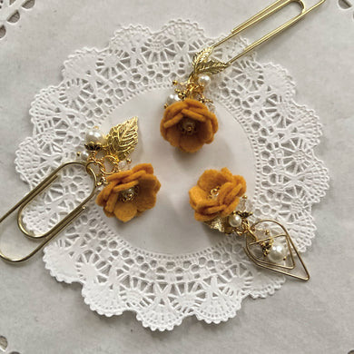 Marigold Felt Flower Dangle clip