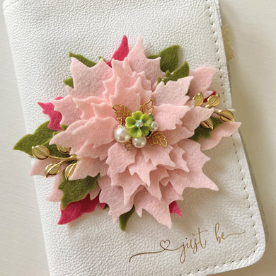 Baby Pink Poinsettia with green flower charm center Felt Flower Swag