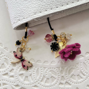Berry Felt flower and Dragonfly Charm with Beads Bookmark