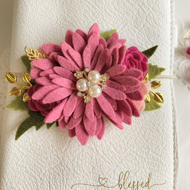 Rose Pink Daisy Felt Flower Swag