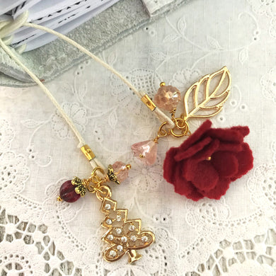 Red Felt Flower and Pink Beads with Rhinestone Tree Bookmark, TN Bookmark