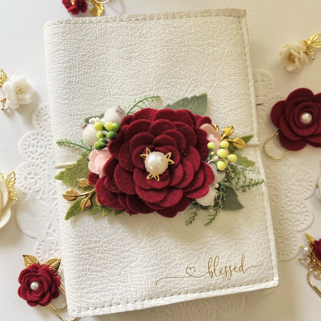 Red Winter Rose Felt Flower Swag