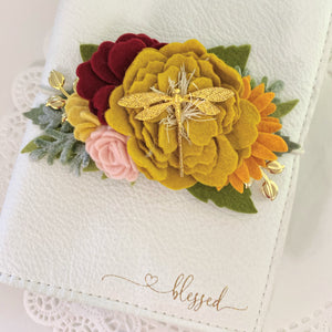 Mustard Dragonfly Bouquet Felt Flower Swag