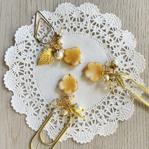 Butterscotch Glass Flower Bead Dangle clip