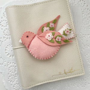 """For the Birds"" Blush and White bird Felt Flower Swag"