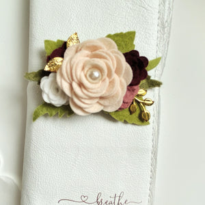 Smaller Porcelain, wine and vintage rose flower cluster Felt Floral Swag