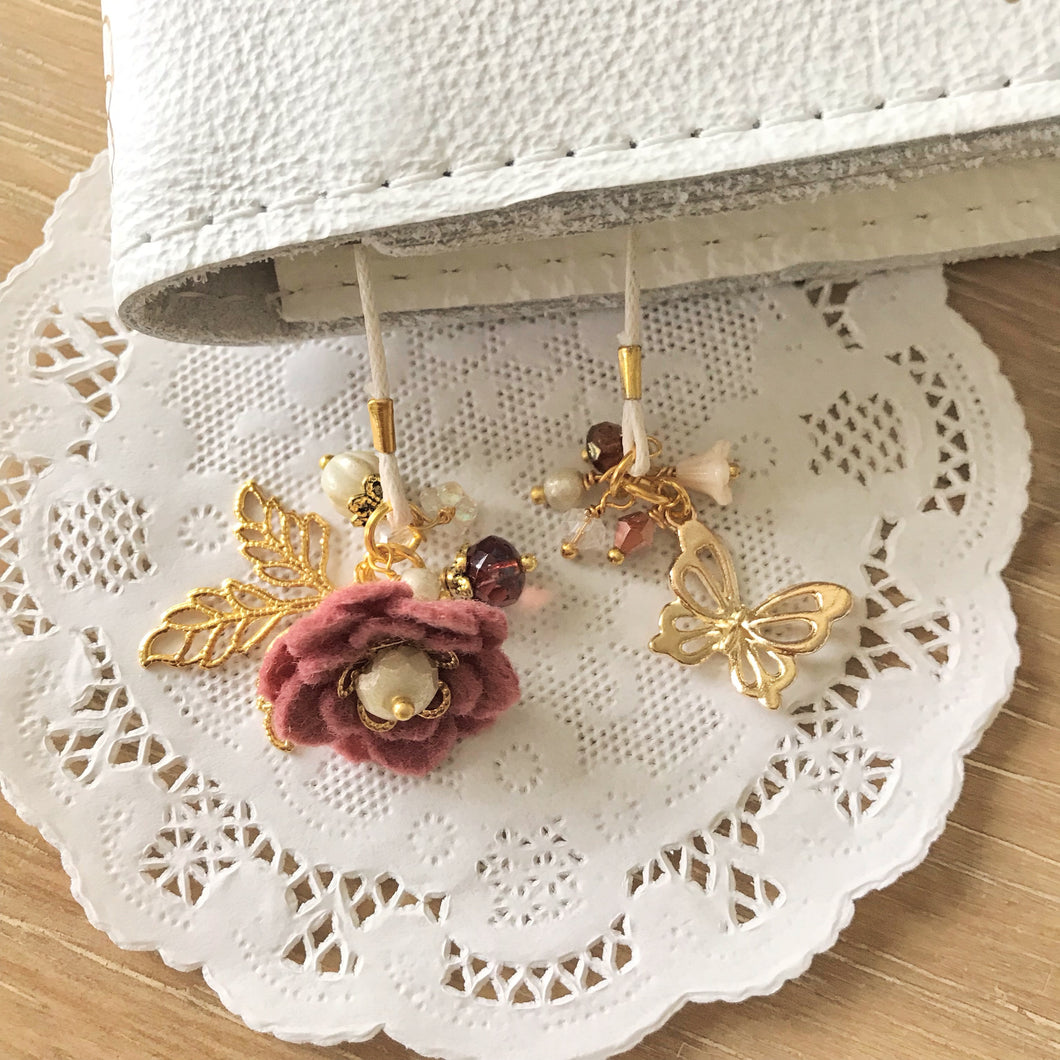 Vintage Rose Felt Flower and Beads with Gold Butterfly Bookmark
