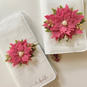 Small Pink Rose Poinsettia Felt Floral Swag