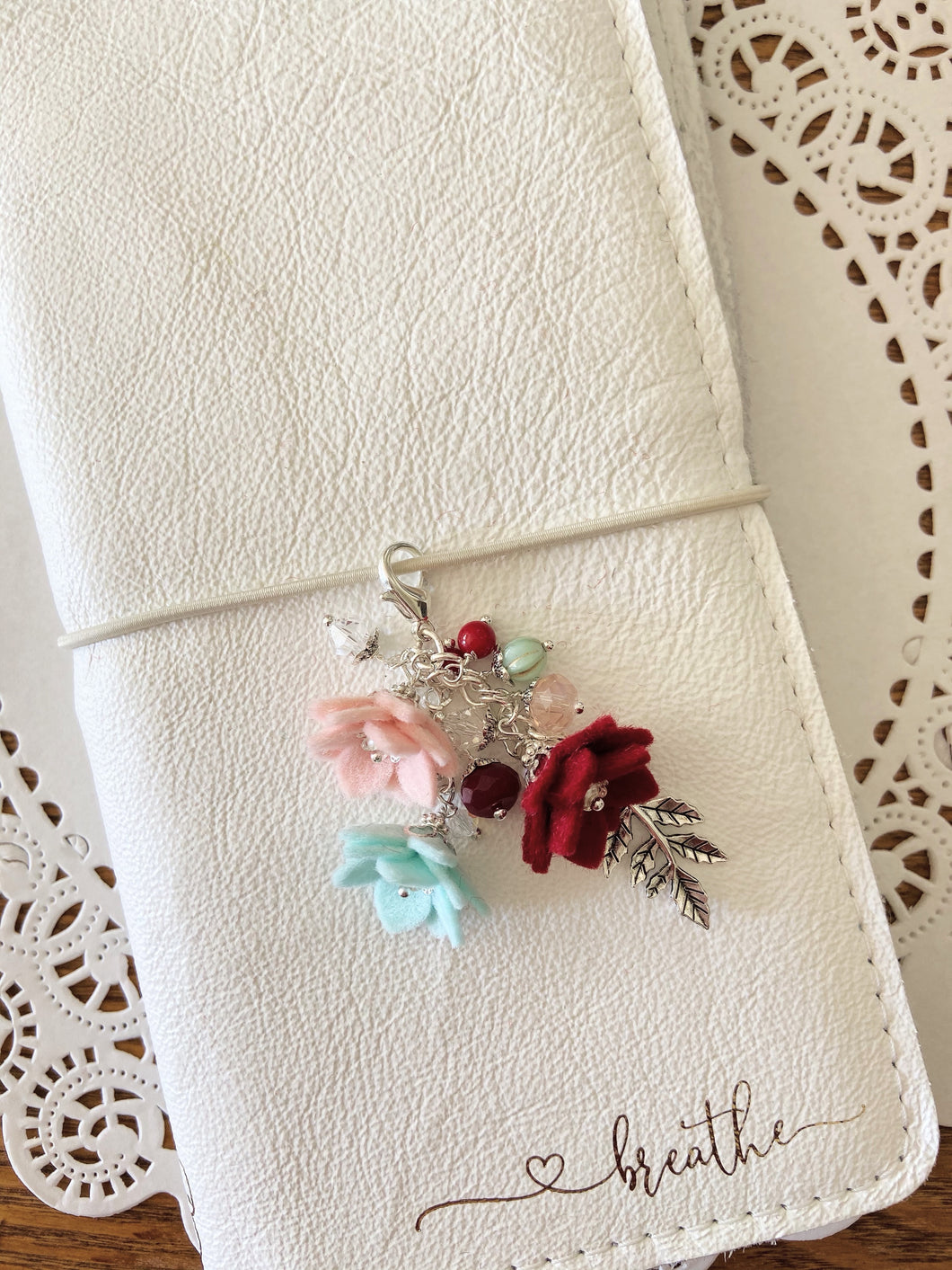 Holly Jolly Felt Flower Charm with SILVER  holly leaf and beads