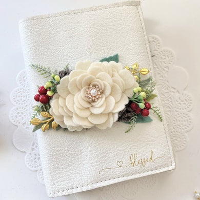 Winter Cream Rose Felt Flower Swag